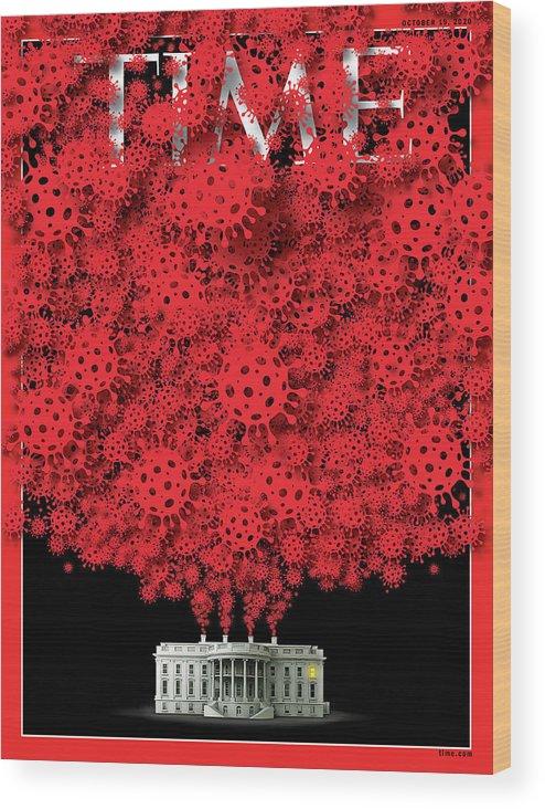 President Donald Trump Wood Print featuring the photograph Trump Covid White House by Time Illustration - viral cell icon - bgblue Getty Image