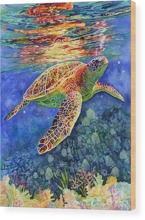 Turtle Wood Print featuring the painting Turtle Reflections by Hailey E Herrera