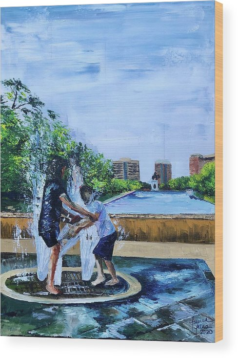 Hermann Park Wood Print featuring the painting UnADULTurated Fun by Lauren Luna