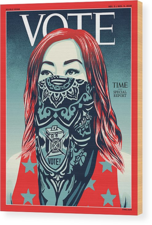 2020 Us Presidential Election Wood Print featuring the photograph Vote 2020 by Illustration by Shepard Fairey for TIME