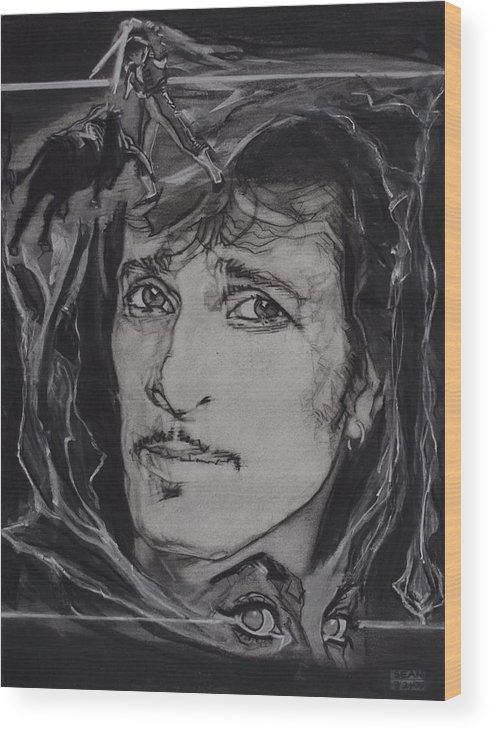 Charcoal On Paper Wood Print featuring the drawing Willy DeVille - Coup de Grace by Sean Connolly