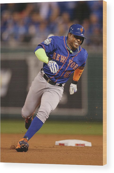 Playoffs Wood Print featuring the photograph Yoenis Cespedes by Brad Mangin