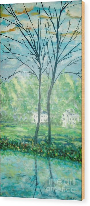 Landscape Wood Print featuring the painting Twins By The Lake by Reina Resto