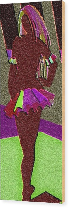 Wood Print featuring the digital art Multicolored Raven Standing by Margie Byrne