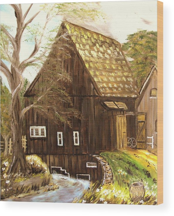 Mill Wood Print featuring the painting Old mill by Kenneth LePoidevin