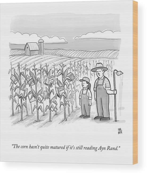 Corn Stalks Wood Print featuring the drawing A Farmer And His Daughter Look At Cornstalks Who by Paul Noth