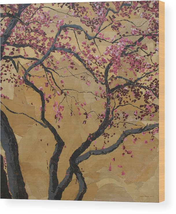 Tree Wood Print featuring the painting Blooming Prairie Fire by Leah Tomaino
