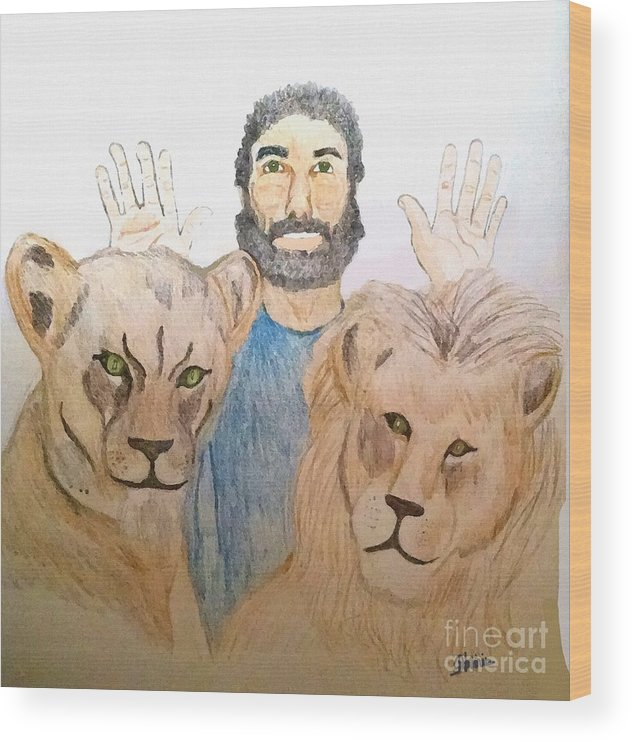 Daniel In The Lions' Den Wood Print featuring the painting Daniel in the Lions' Den by Pharris Art