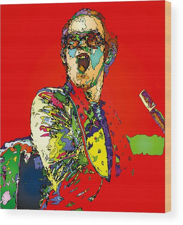 Elton John Wood Print featuring the painting Elton in Red by John Farr