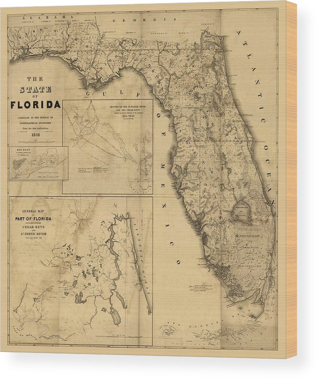 Florida Map Art Vintage Antique Map Of Florida Wood Print By World Art Prints And Designs