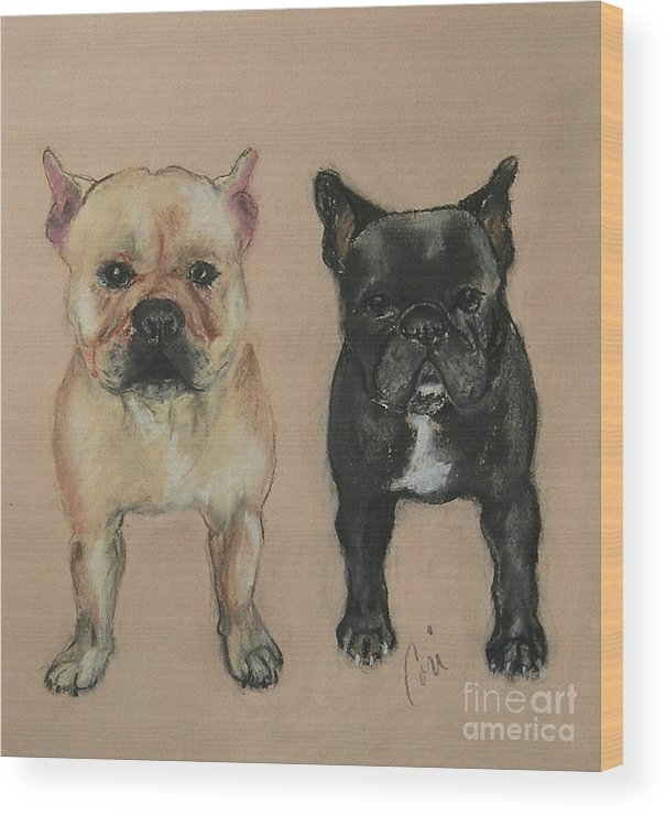 French Bulldog Wood Print featuring the pastel Pardon My French by Cori Solomon