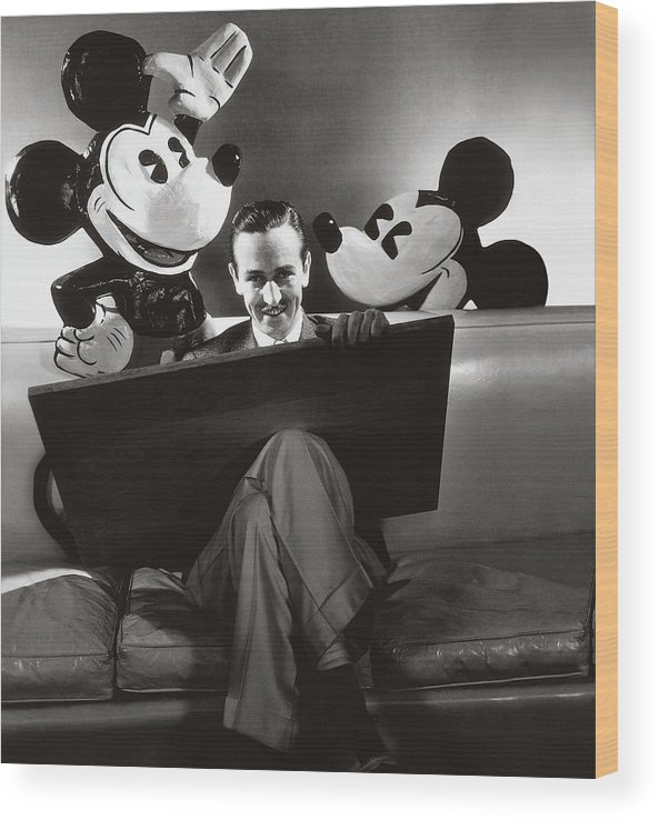 One Person Wood Print featuring the photograph Portrait Of Walt Disney Sitting With Open Cartoon by Edward Steichen