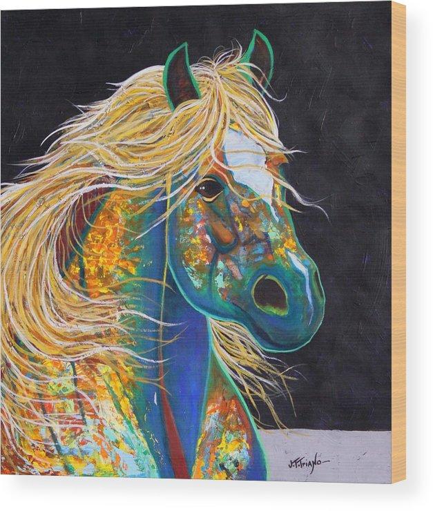 Wildlife Wood Print featuring the painting Rainbow Warrior - Mestengo by Joe Triano