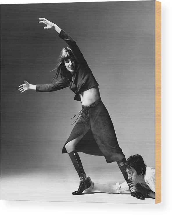 Actor Wood Print featuring the photograph Serge Gainsbourg At The Foot Of Jane Birkin by Bert Stern