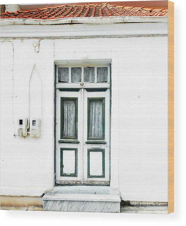 Door Wood Print featuring the photograph White And Green Door by Ioanna Papanikolaou