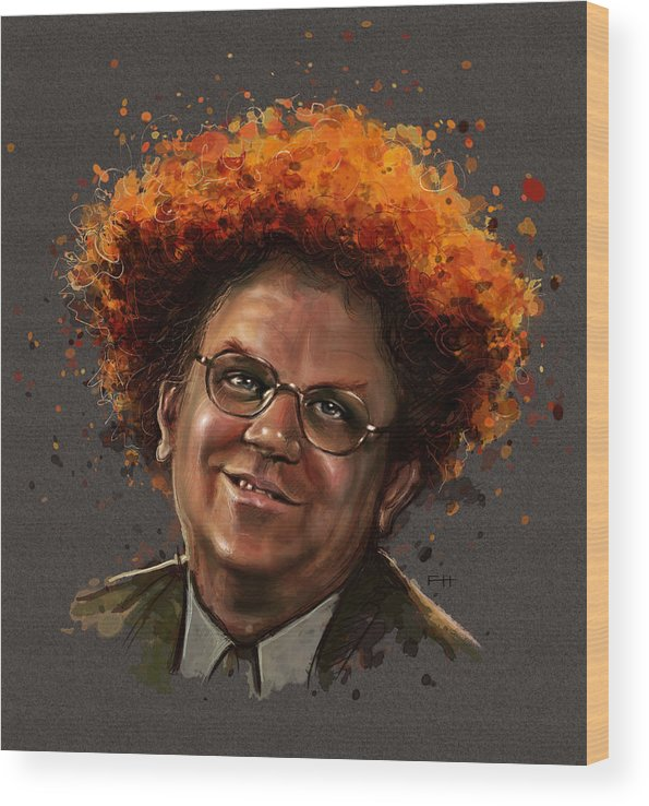 Dr. Steve Brule Wood Print featuring the painting Dr. Steve Brule by Fay Helfer