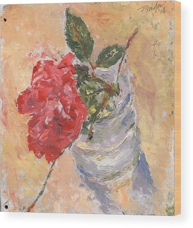 Still Life Wood Print featuring the painting A single rose by Horacio Prada