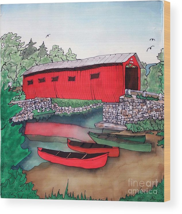 Covered Bridge Wood Print featuring the painting Covered Bridge and Canoes by Linda Marcille