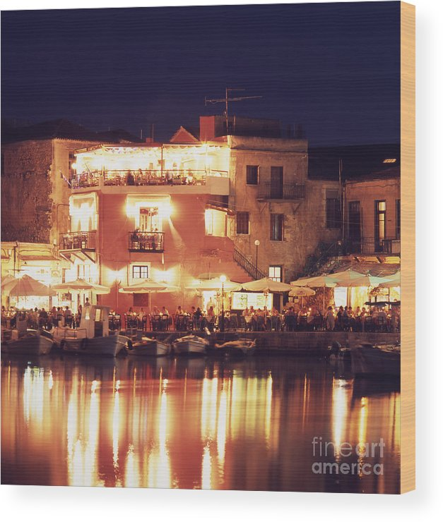 Crete Wood Print featuring the photograph Crete. Rethymnon Harbor at night by Steve Outram