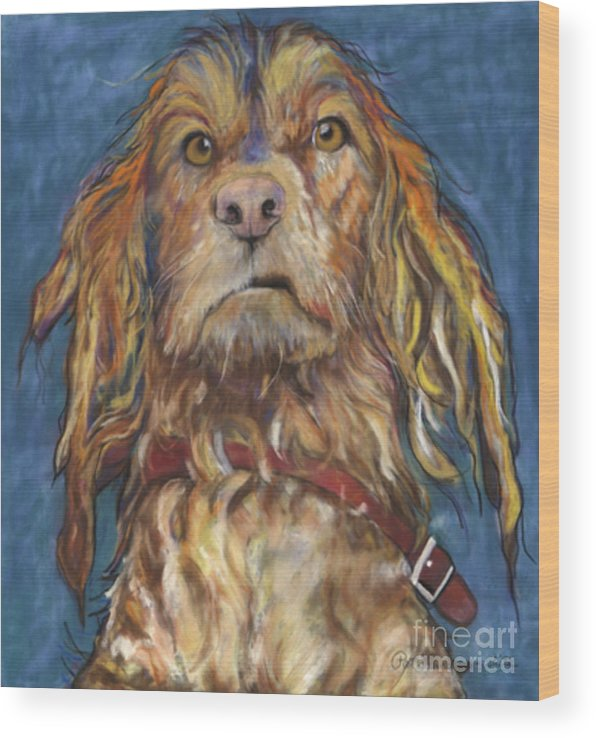 Golden Retriever Painting Wood Print featuring the pastel Drenched by Pat Saunders-White