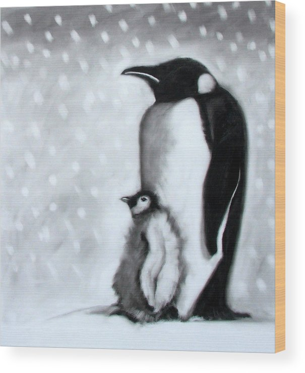 Penguin Wood Print featuring the painting Father And Son by Paul Powis