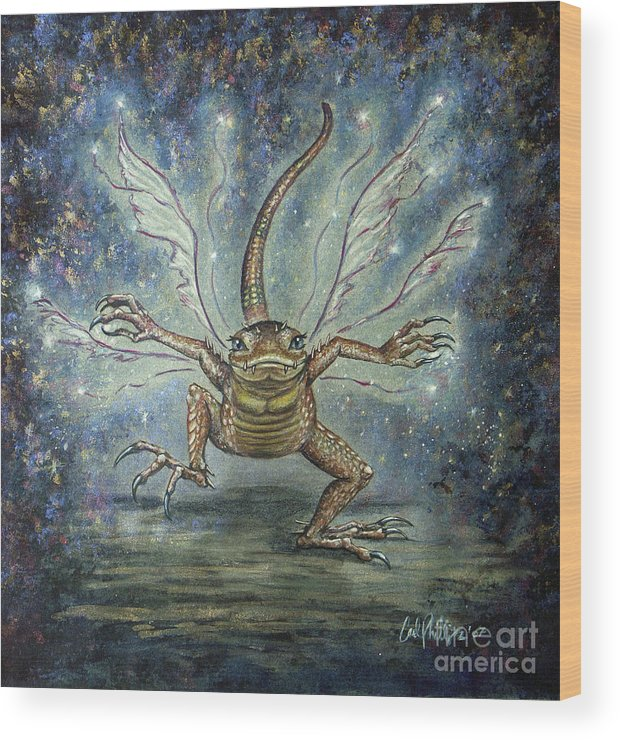 Fairy Wood Print featuring the mixed media GlitterKin by Carol Phillips