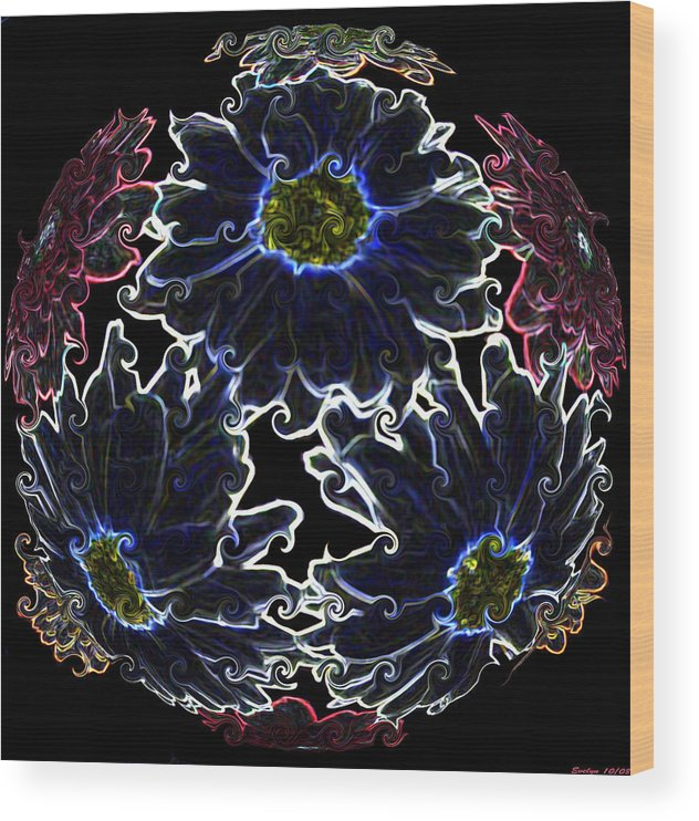 Botanical Wood Print featuring the photograph Neon Mums by Evelyn Patrick