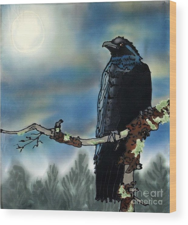 Silk Wood Print featuring the painting Raven Moon by Linda Marcille