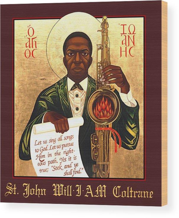 Saint John Coltrane. Black Christ Religion Wood Print featuring the painting Saint John the Divine Sound Baptist by Mark Dukes