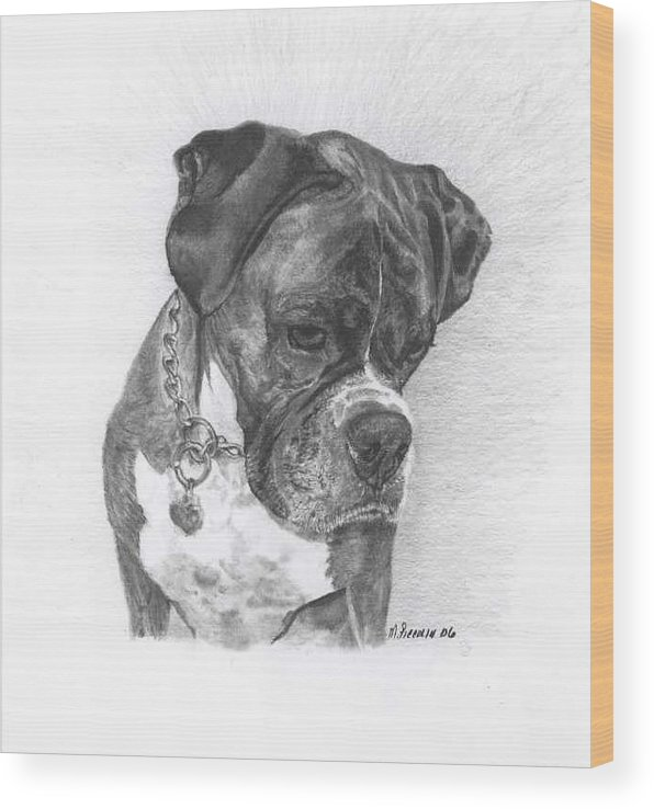 My Boxer Wood Print featuring the drawing Tyson by Marlene Piccolin