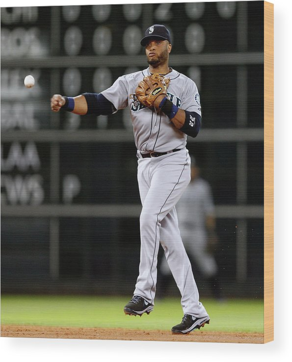 American League Baseball Wood Print featuring the photograph Seattle Mariners V Houston Astros by Bob Levey