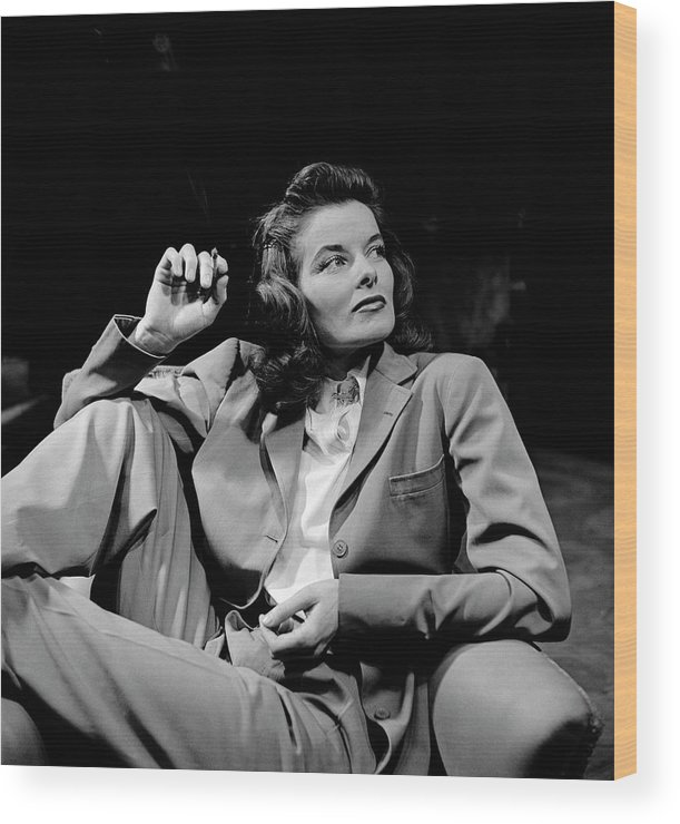 Timeincown Wood Print featuring the photograph Katharine Hepburn by Alfred Eisenstaedt