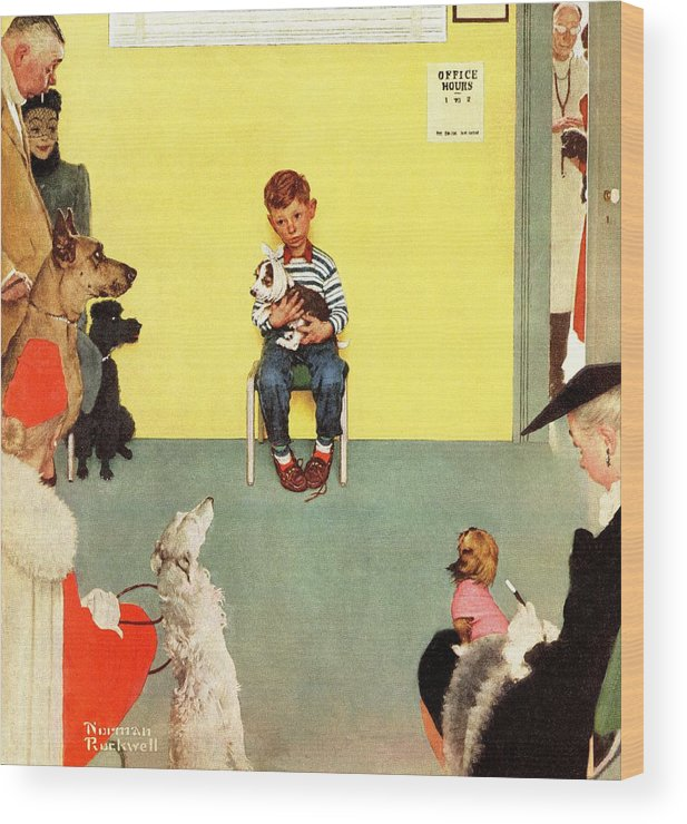 Boy Wood Print featuring the drawing At The Vets by Norman Rockwell