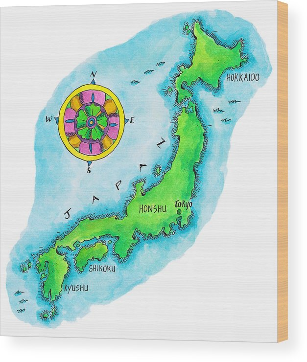 Hokkaido Wood Print featuring the digital art Map Of Japan by Jennifer Thermes