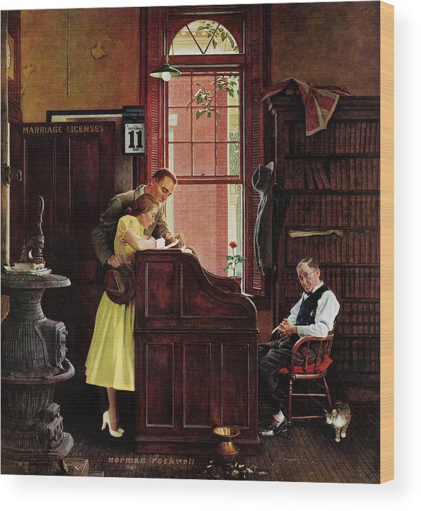 Clerks Wood Print featuring the drawing Marriage License by Norman Rockwell