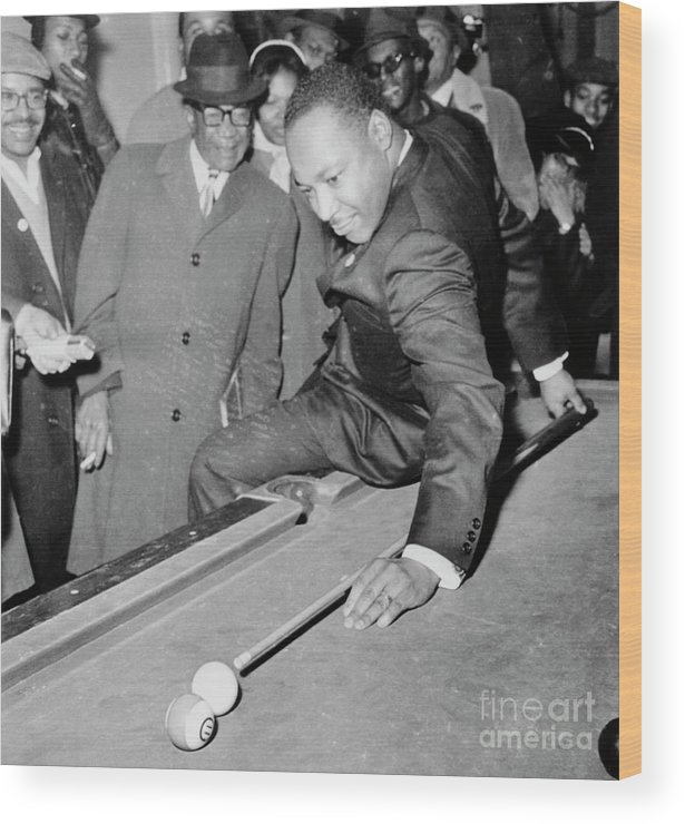 People Wood Print featuring the photograph Martin Luther King Playing Pool by Bettmann