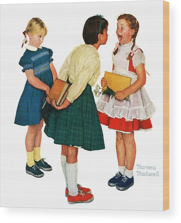 Books Wood Print featuring the drawing Missing Tooth by Norman Rockwell