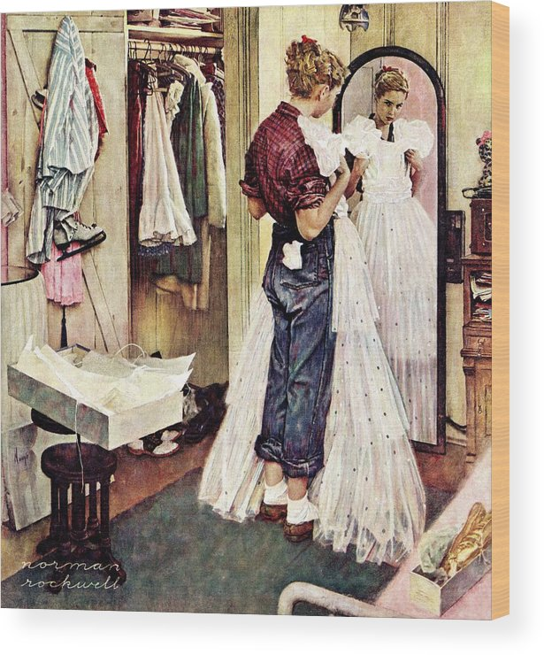 Dresses Wood Print featuring the drawing Prom Dress by Norman Rockwell
