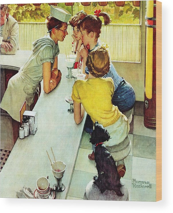 Counterman Wood Print featuring the drawing Soda Jerk by Norman Rockwell