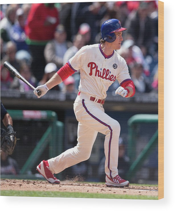 Citizens Bank Park Wood Print featuring the photograph Chase Utley by Mitchell Leff