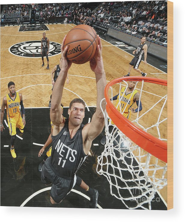 Nba Pro Basketball Wood Print featuring the photograph Brook Lopez by Nathaniel S. Butler