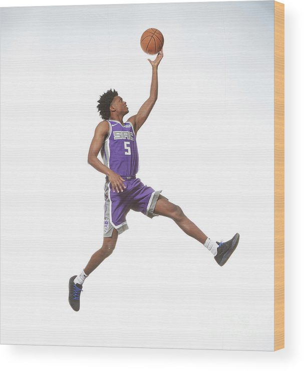 Nba Pro Basketball Wood Print featuring the photograph De'aaron Fox by Nathaniel S. Butler