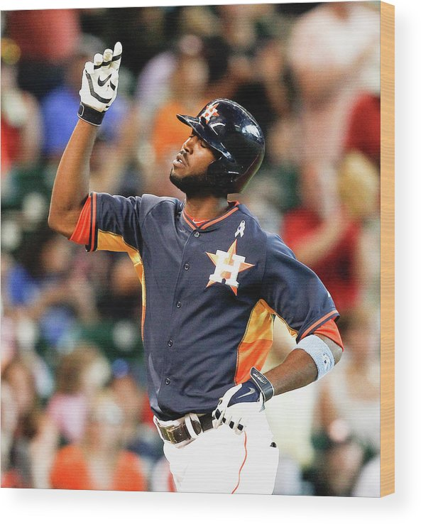 American League Baseball Wood Print featuring the photograph Dexter Fowler by Bob Levey