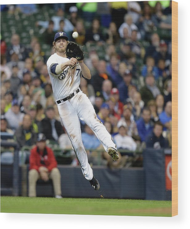 Ball Wood Print featuring the photograph Jordy Mercer and Mark Reynolds by Jeffrey Phelps
