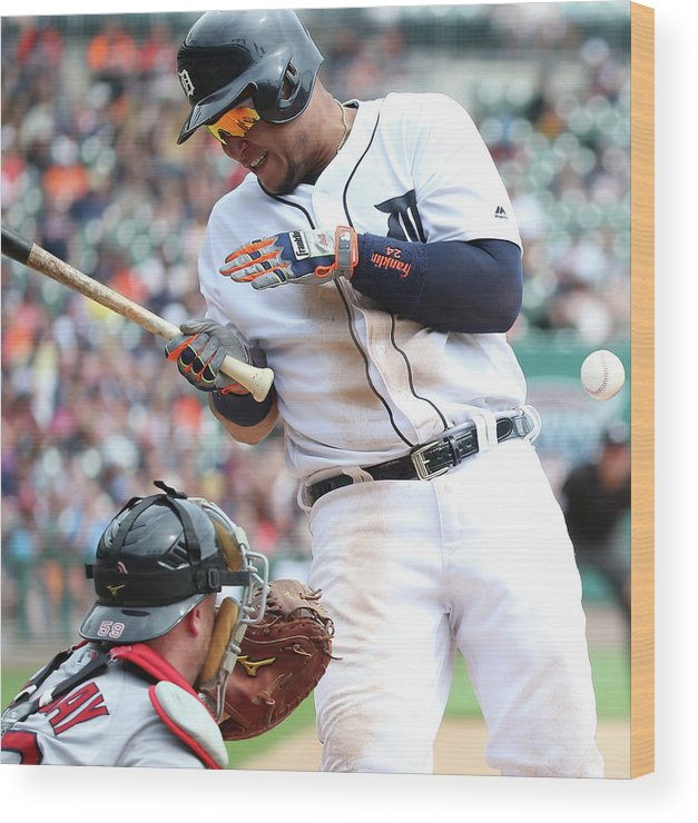 American League Baseball Wood Print featuring the photograph Miguel Cabrera and Clay Buchholz by Leon Halip