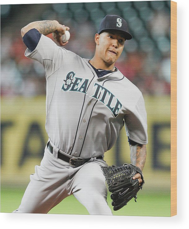 American League Baseball Wood Print featuring the photograph Taijuan Walker by Bob Levey