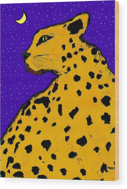 Leopard Wood Print featuring the painting Leopard At Midnight by Dale Moses