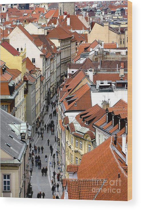 Prague Wood Print featuring the photograph Streets Of Prague by Don Kenworthy