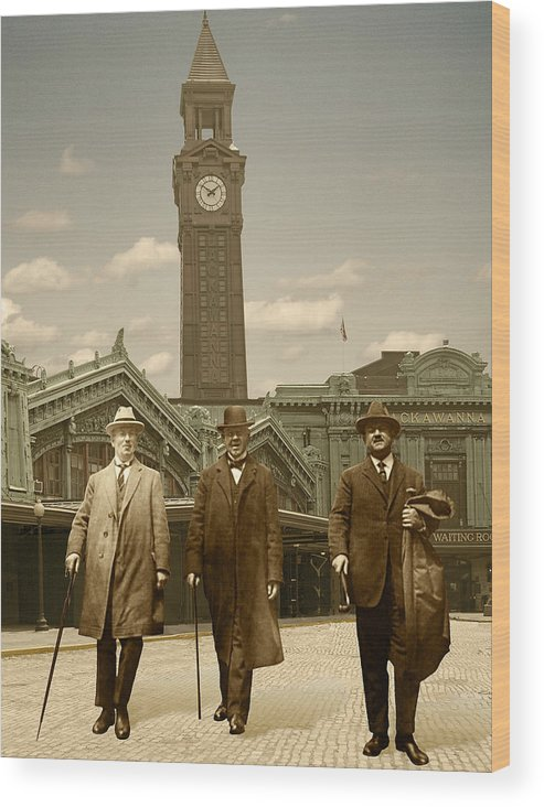 Cityscape Wood Print featuring the photograph Three Stalwart Gentlemen by Roslyn Rose