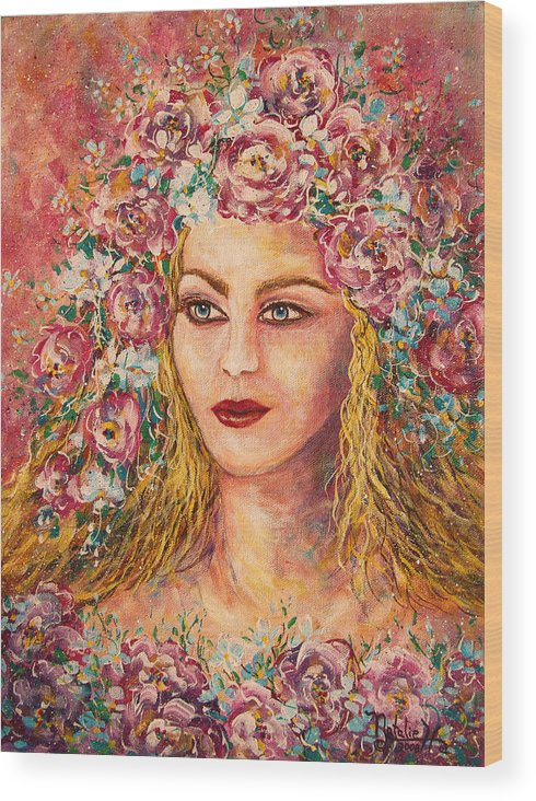 Goddess Wood Print featuring the painting Good Fortune Goddess by Natalie Holland